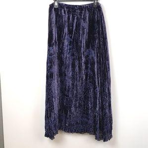 Chico's women's Velvet Burnout Velvet Skirt Blue